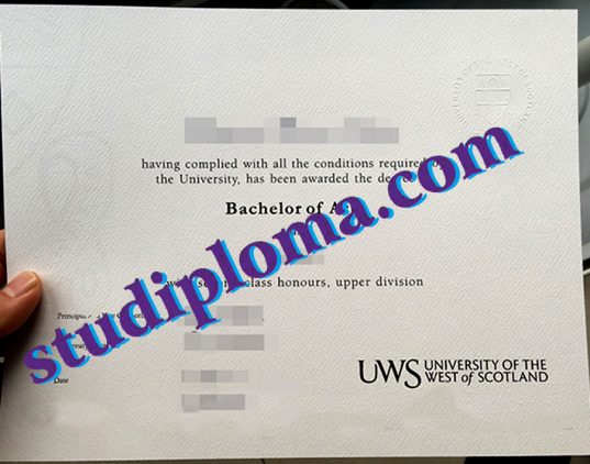 fake University of the West of Scotland degree certificate