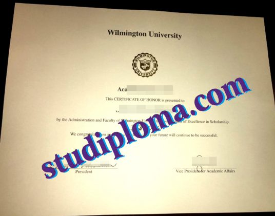 Wilmington University degree certificate