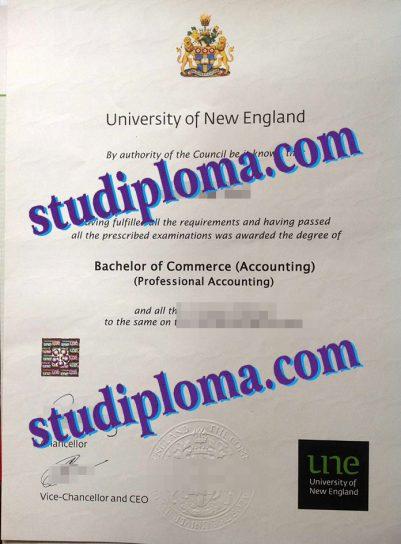 fake University of New England diploma