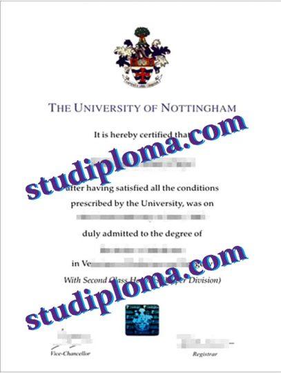 University of Nottingham degree certificate
