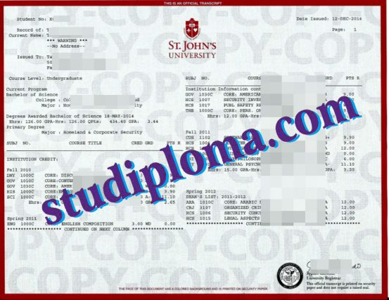 fake York St John University transcript