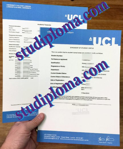 fake University College London transcript