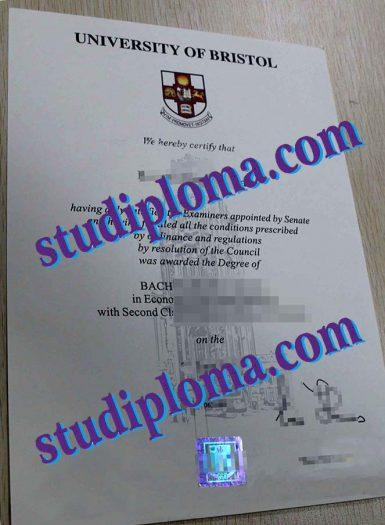 fake University of Bristol diploma