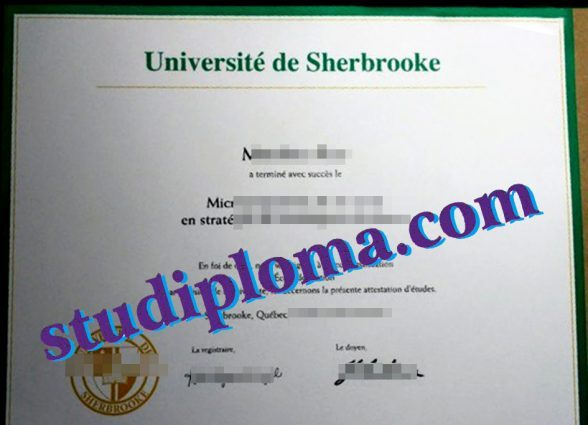 Université de Sherbrooke degree certificate