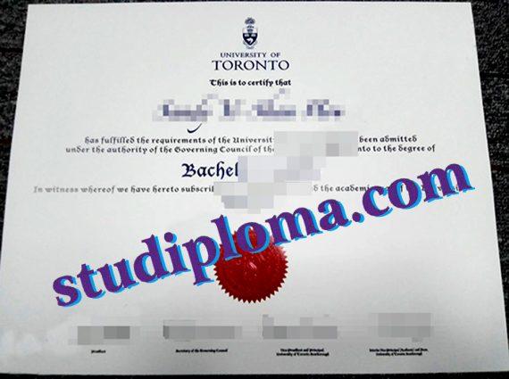 University of Toronto degree certificate