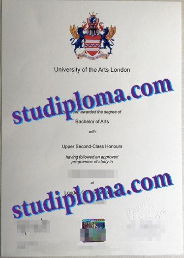 fake University of the Arts London degree certificate