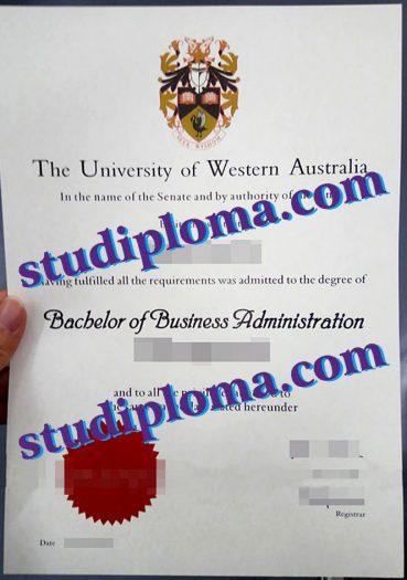 fake University of Western Australia degree certificate