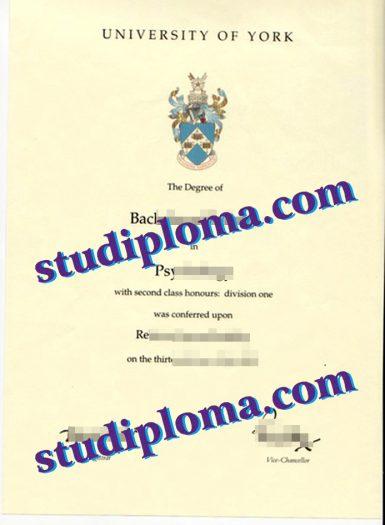 fake University of York diploma