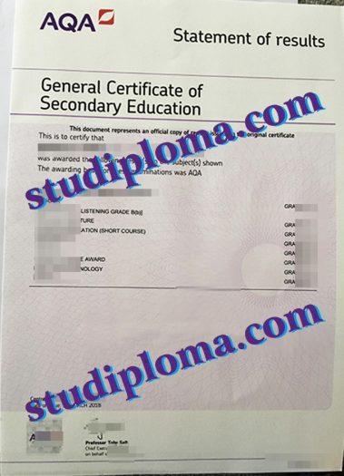 AQA certificate