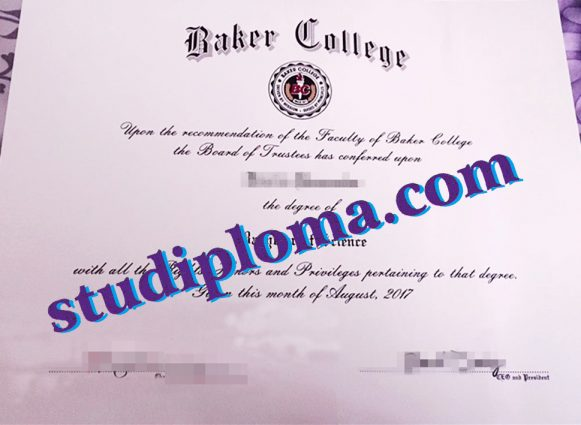 Baker College certificate
