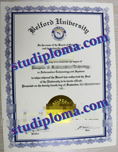 Belford University certificate